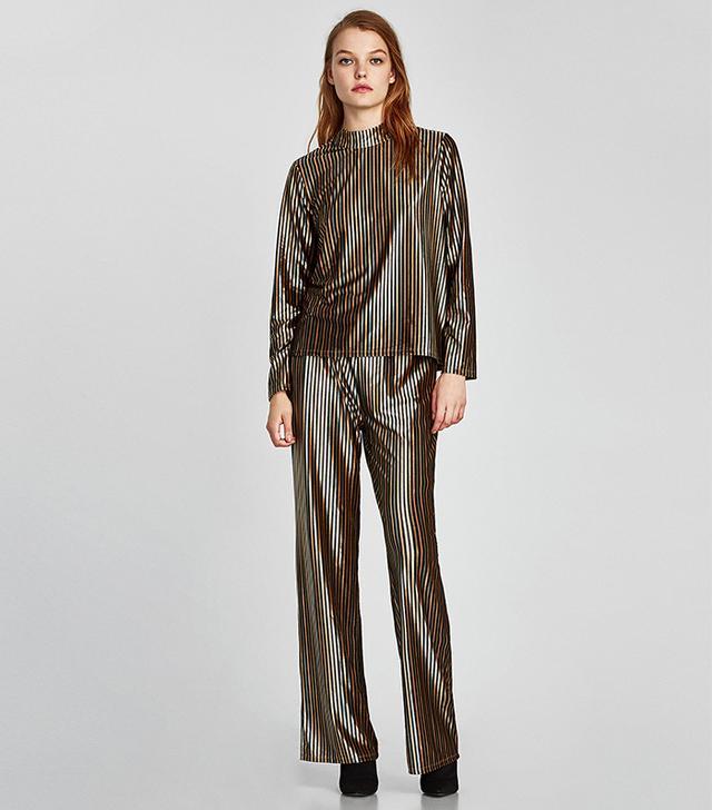 Zara Striped Velvet Top