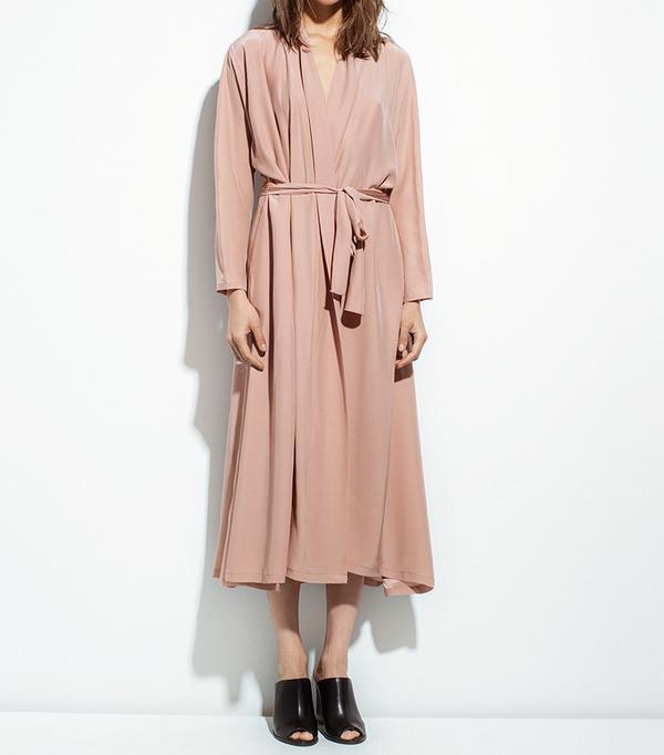Datura Blushed Silk Kimono Dress