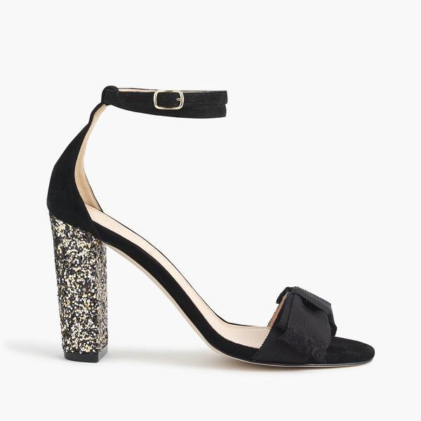 Suede sandals with glitter heel