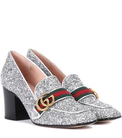 Glitter loafer pumps