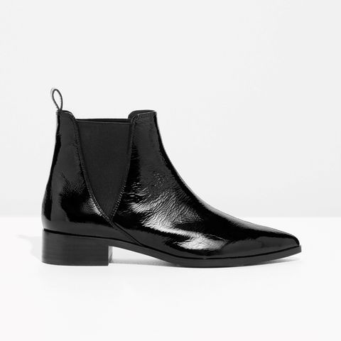 Snake Embossed Leather Chelsea Boots