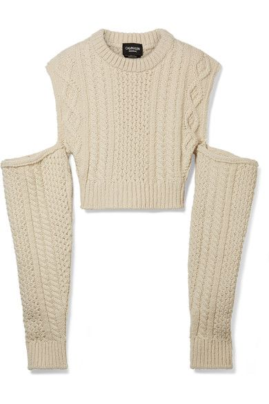 Cold-shoulder Cropped Cable-knit Wool-blend Sweater