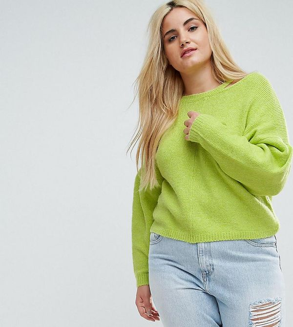 ASOS CURVE Sweater with Volume Sleeve and Cut Out Neck