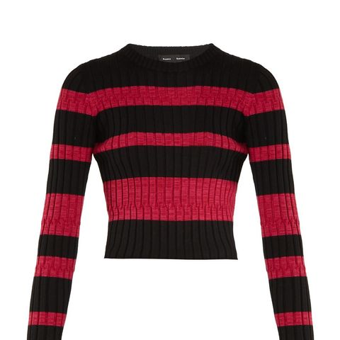 Long-Sleeved Striped Cropped Sweater