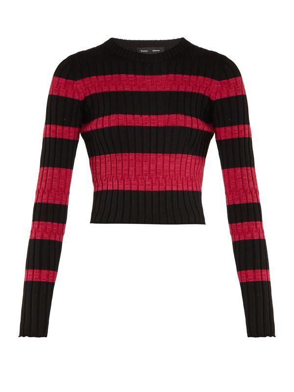 Long-sleeved striped wool-blend cropped sweater