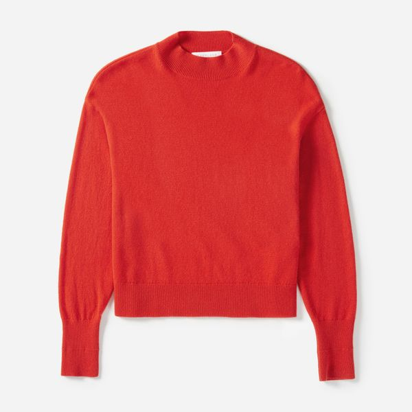 Women's Cashmere Crop Mockneck Sweater by Everlane in Persimmon, Size XL