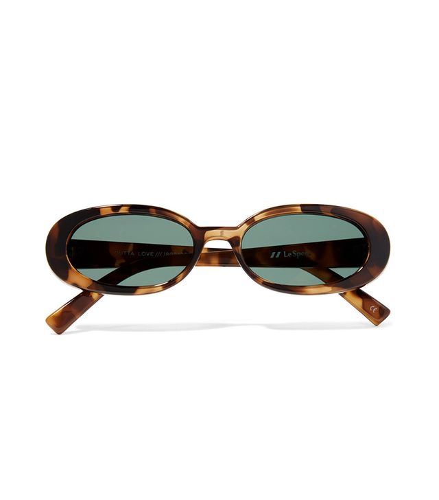 Le Specs Outta Love Oval-frame Tortoiseshell Acetate Sunglasses