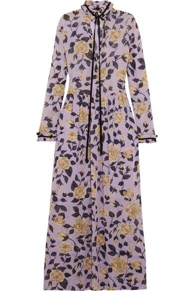 Carlton Pussy-bow Floral-print Georgette Maxi Dress