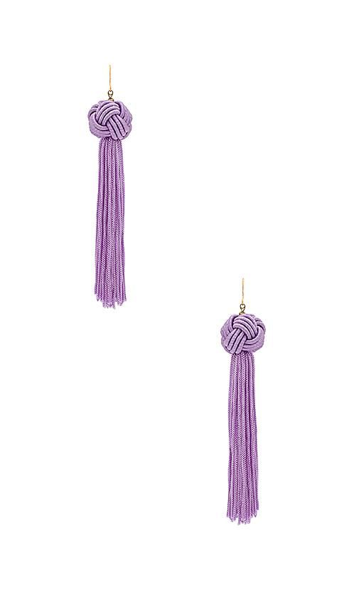 The Astrid Knotted Tassel Earring in Lavender.