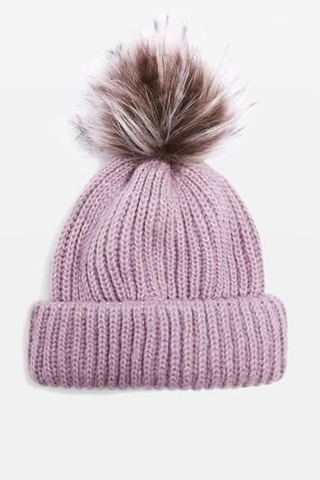 Topshop Faux Fur Pompom Beanie Hat