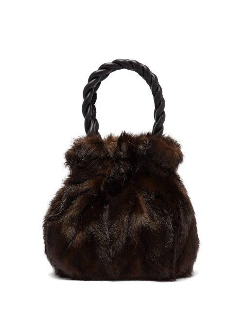 Staud Grace Faux Fur Trimmed Leather Bag
