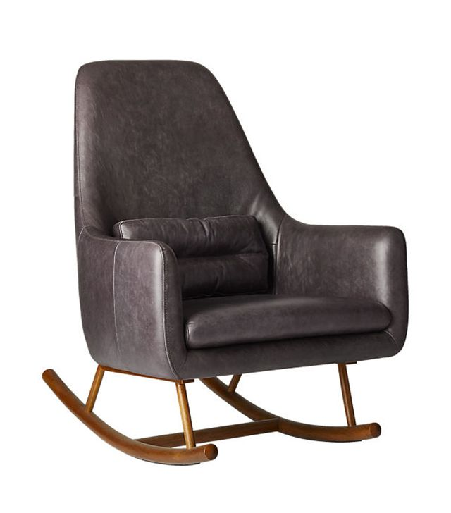 SAIC quantam black leather rocking chair