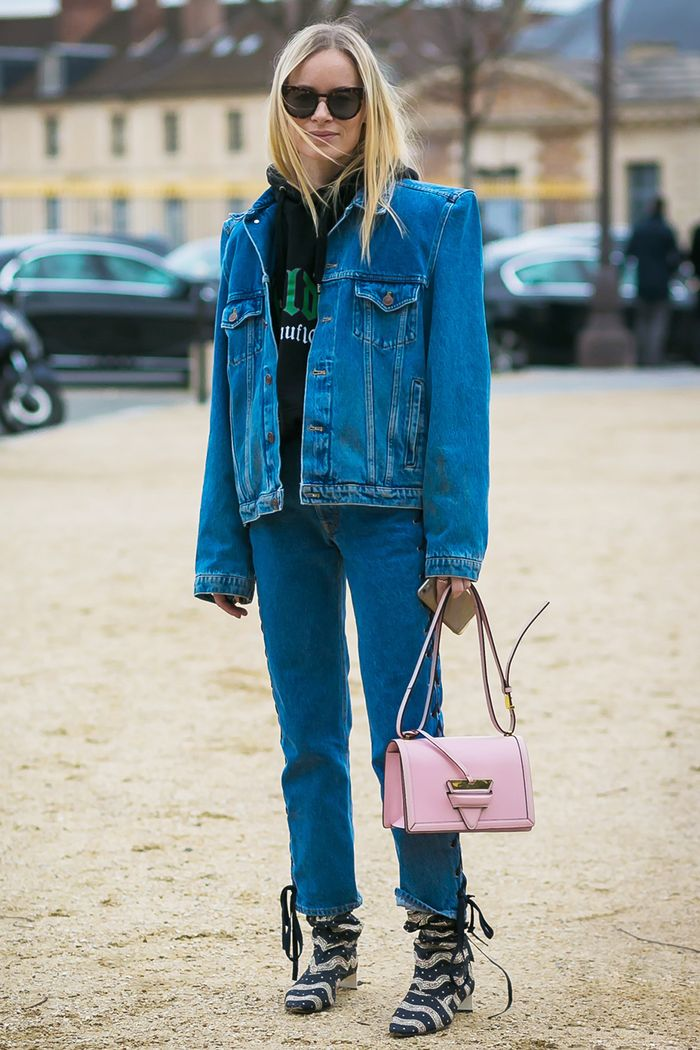 15 Ways To Layer A Denim Jacket For Winter Who What Wear
