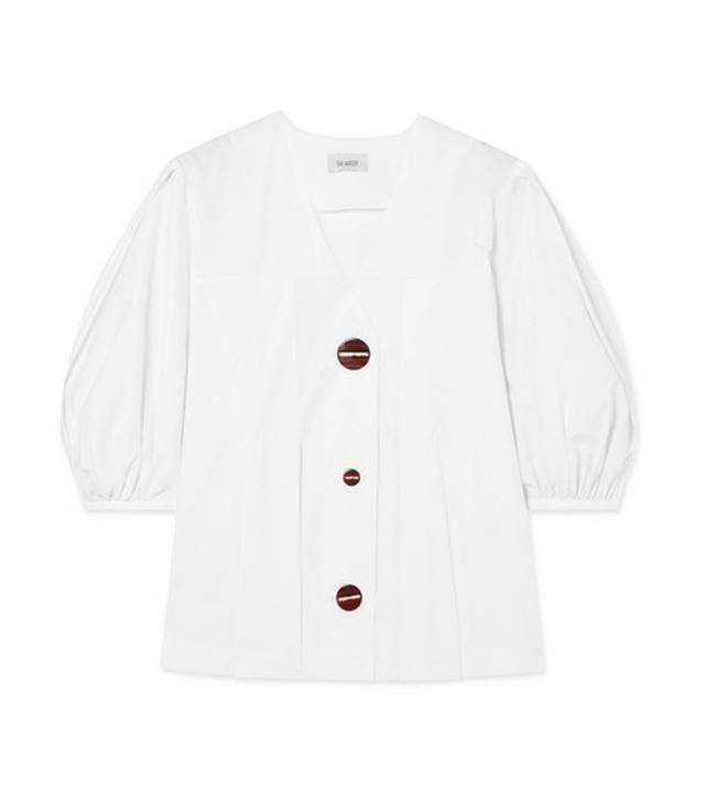 Pleated Cotton-poplin Top
