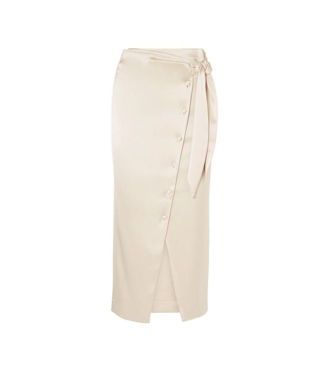 Tuli Belted Denim Midi Skirt