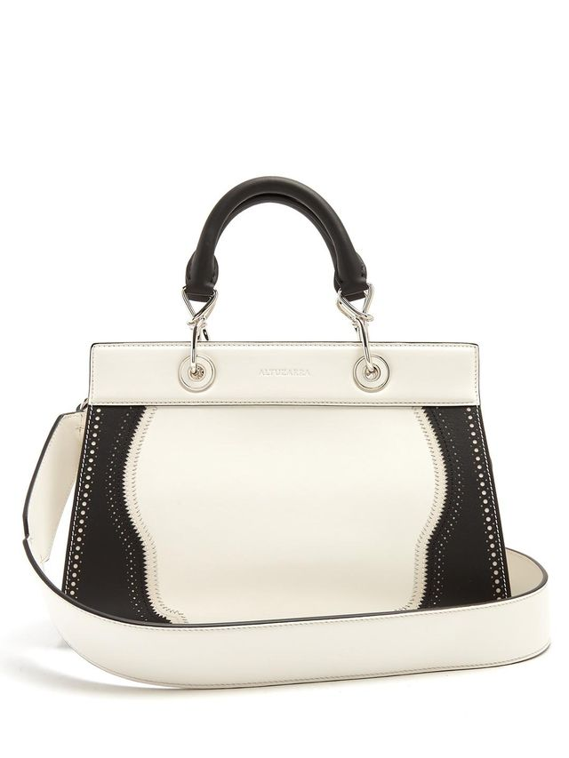 Shadow contrast-trimmed small leather bag