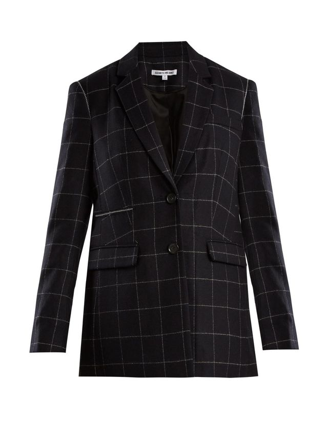 Caprice windowpane-checked wool-blend blazer