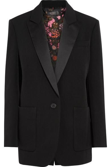 Laya Oversized Satin-trimmed Wool-twill Blazer