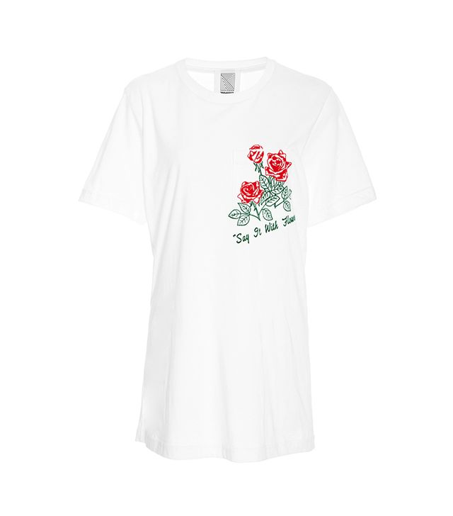 T-Shirt With Flocked Red Roses