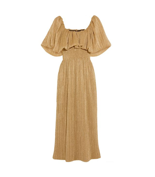 Metallic Plissé-jersey Midi Dress