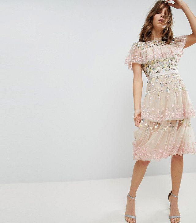 Tiered Midi Dress with Embroidery and Lace Detail