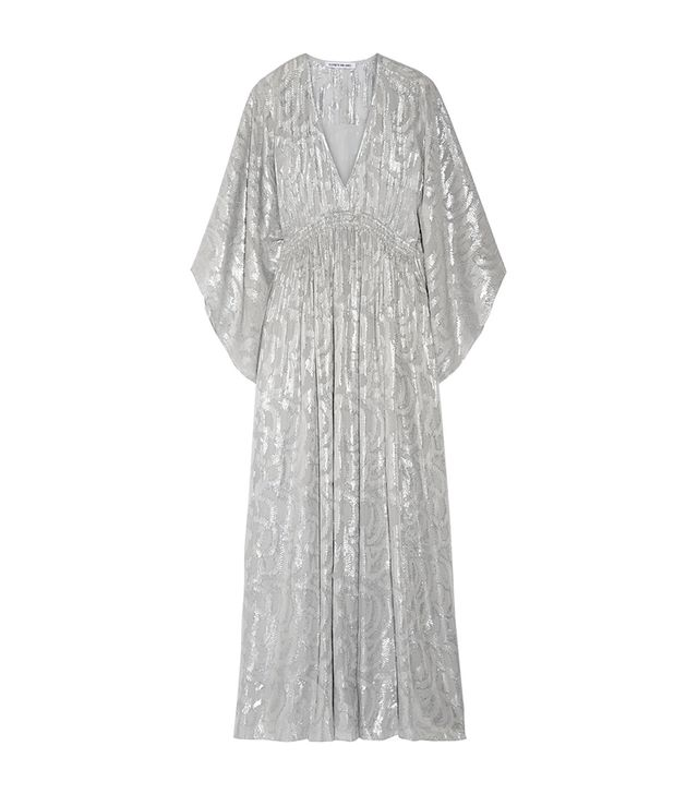 Raquel Metallic Fil Coupé Silk-blend Maxi Dress