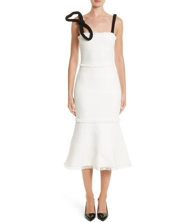Women's Oscar De La Renta Cord Strap Ribbon Tweed Dress