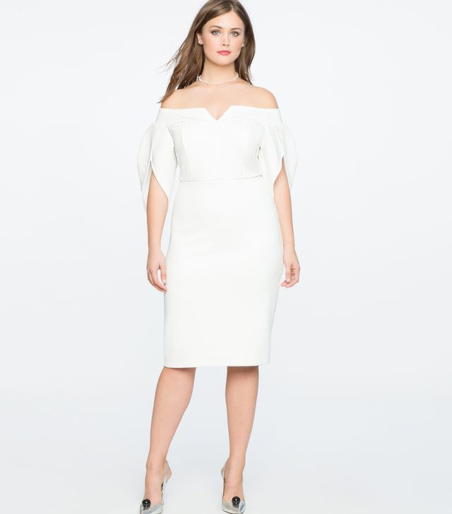 Eloquii Tulip Sleeve Off the Shoulder Dress