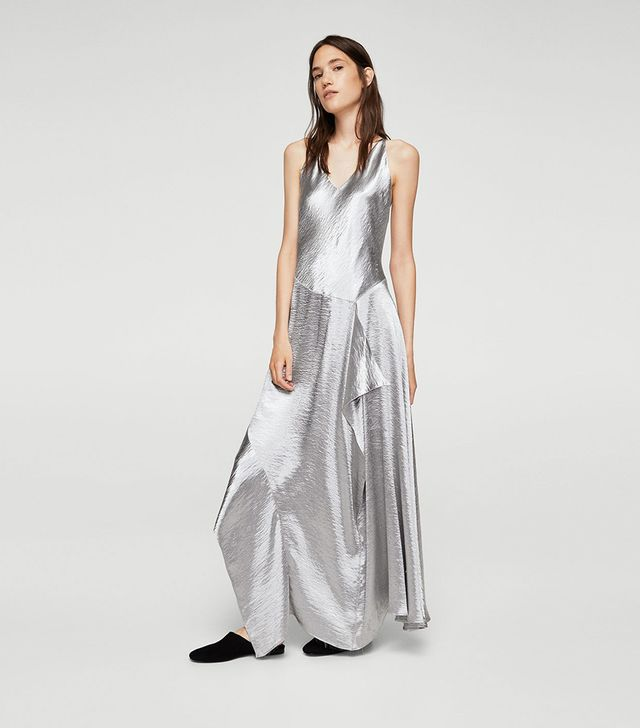 Ruffle metallic dress