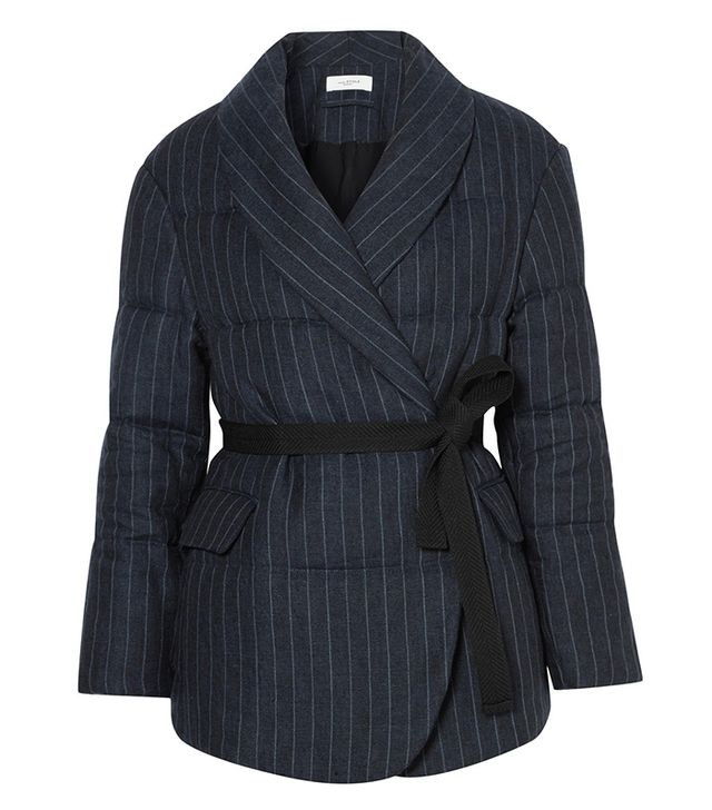 Jaron Quilted Pinstriped Linen Jacket