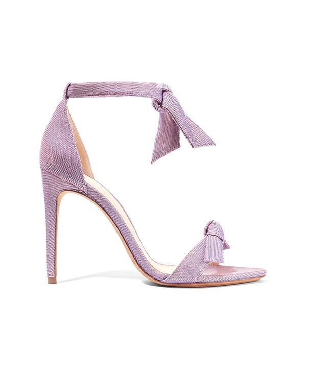 Lovely Clarita Bow-embellished Textured-lamé Sandals