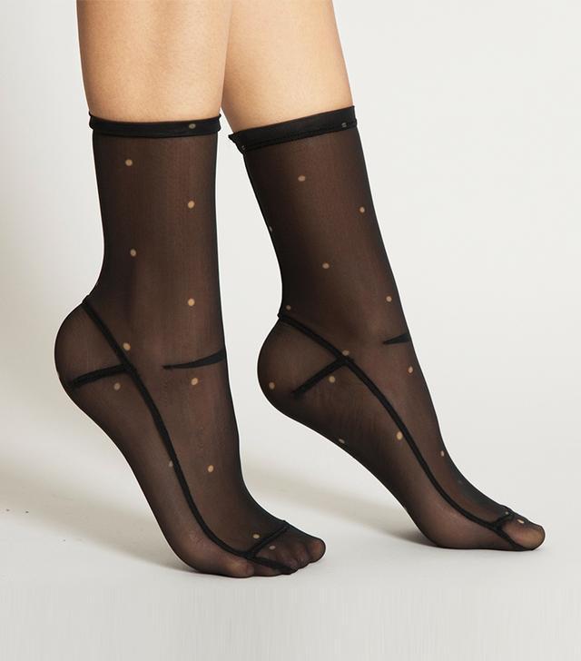 Darner Dots Black Mesh Socks
