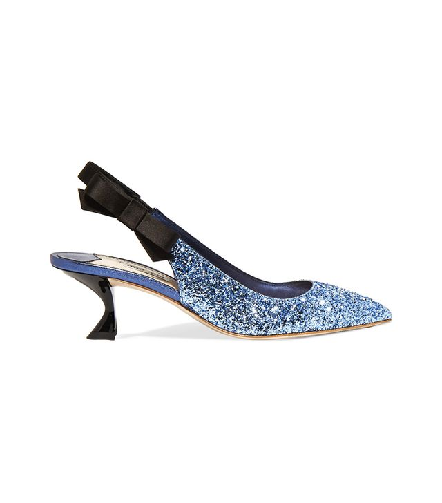 Glittered Leather And Satin Slingback Pumps