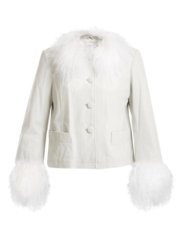 Dorthe fur-trimmed leather jacket