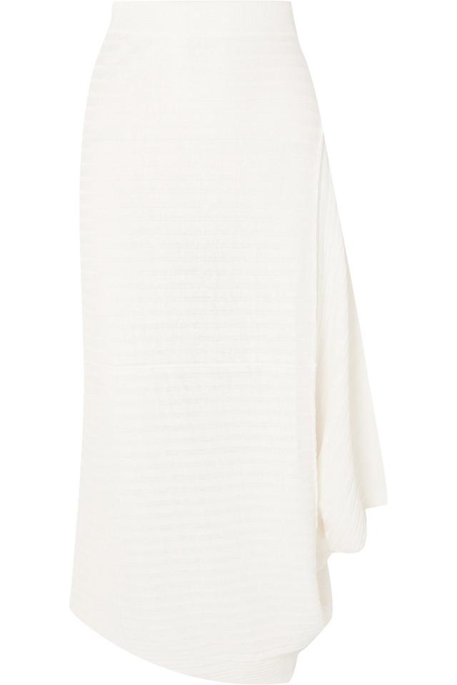Infinity Asymmetric Ribbed Linen Midi Skirt
