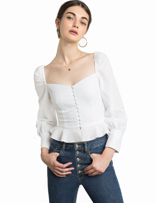 Pixie Market Valentina Bustier Puffy Sleeve Top