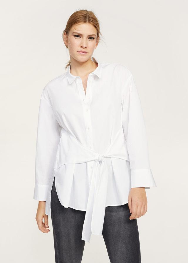 Cotton bow shirt