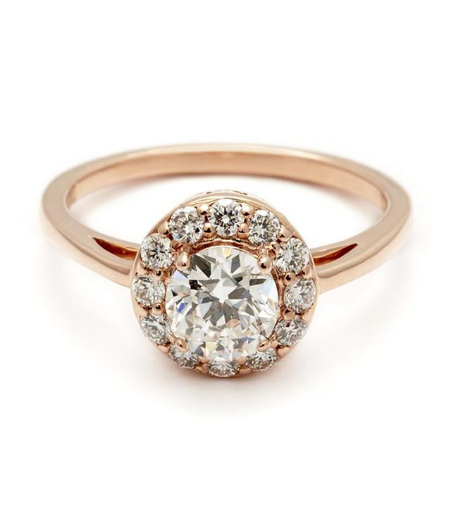 Anna Sheffield Round Grand Halo Rosette Ring Rose Gold & White Diamond