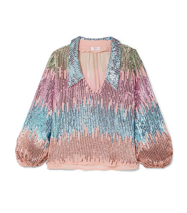 Lyla Sequined Tulle Blouse