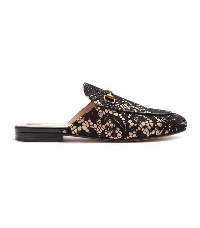 Princetown floral-lace backless loafers