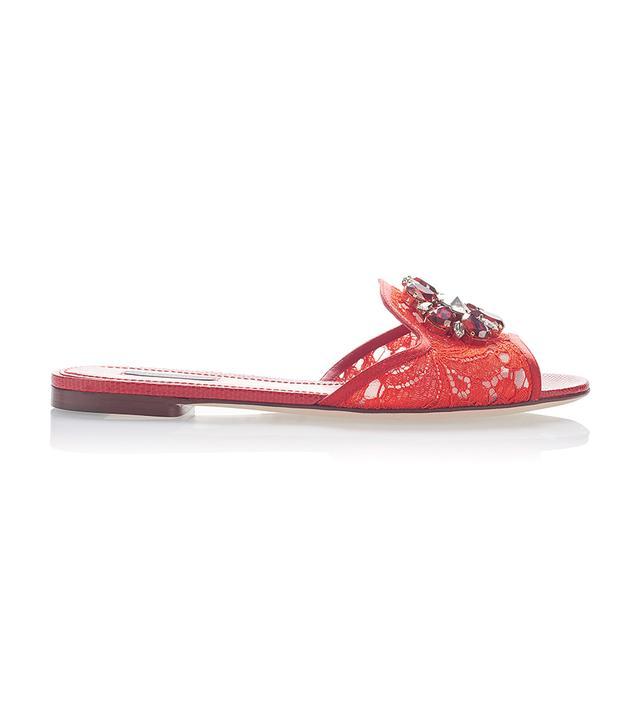 Embellished Leather-Trimmed Lace Slides