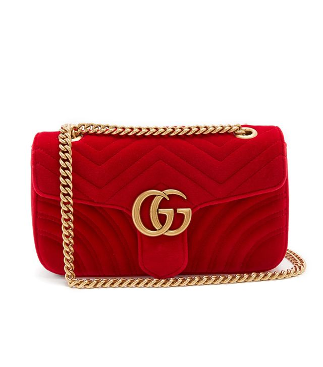 Gucci GG Marmont Small Quilted-Velvet Crossbody Bag in Ruby-Red