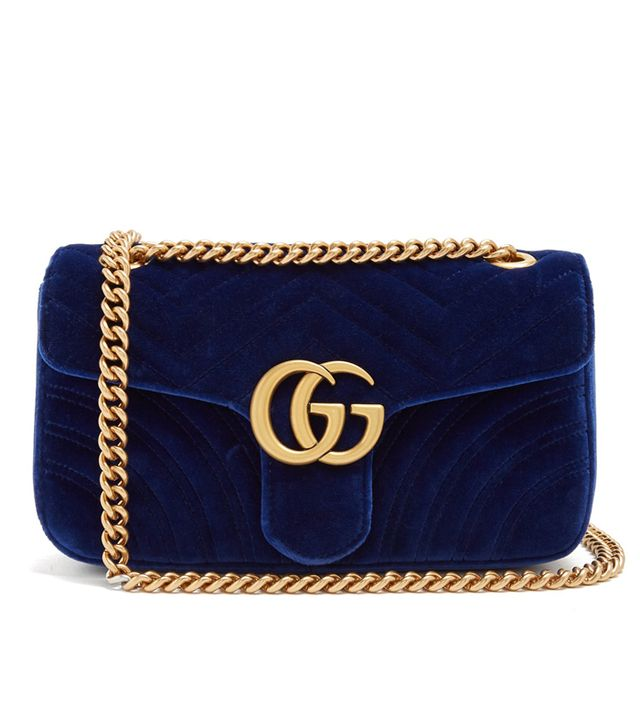 Gucci GG Marmont Small Quilted-Velvet Crossbody Bag in Royal-Blue