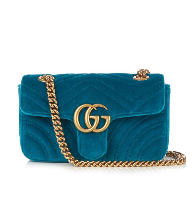 Gucci GG Marmont Mini Quilted-Velvet Crossbody Bag in Teal-Blue