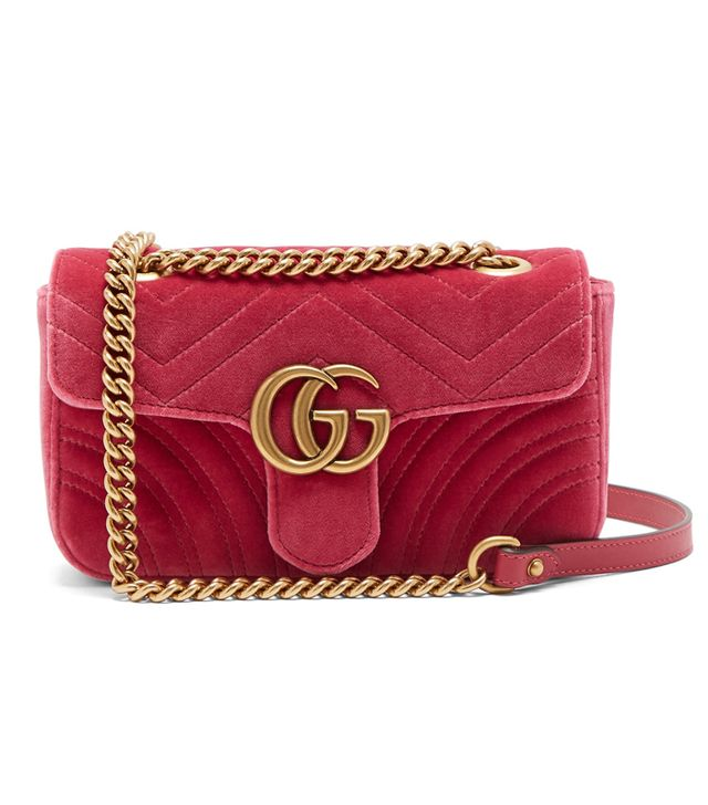 Gucci GG Marmont Mini Quilted-Velvet Crossbody Bag in Fuchsia-Pink