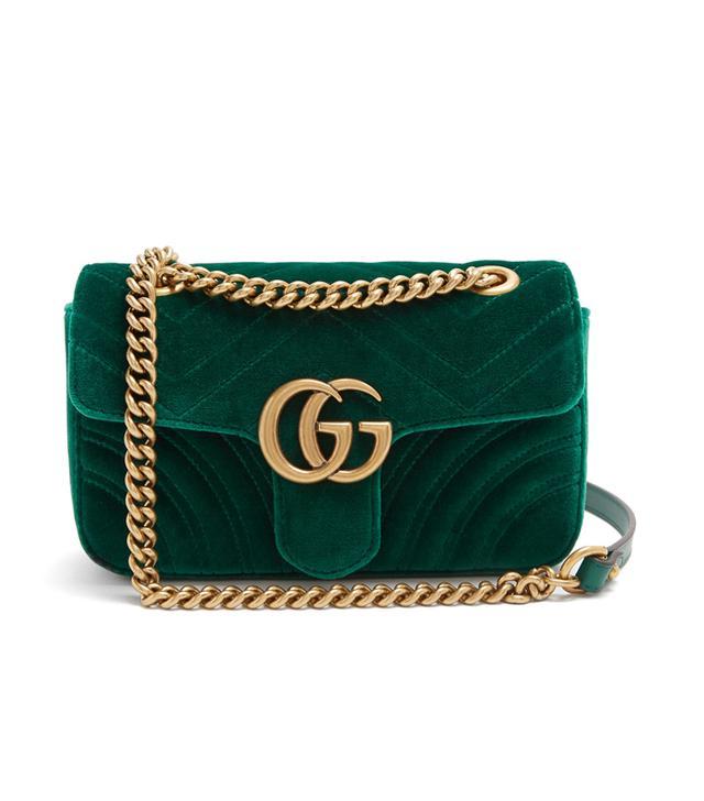 Gucci GG Marmont Mini Quilted-Velvet Crossbody Bag in Dark-Green