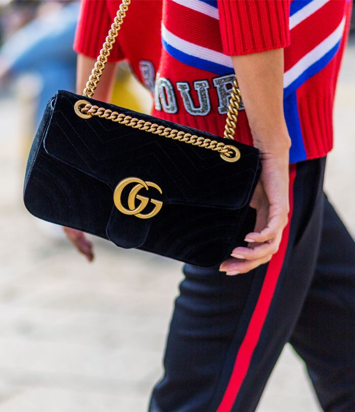 53f6eb54df49 Why You Need to Buy the Gucci Velvet Marmont Bag | Who What Wear UK
