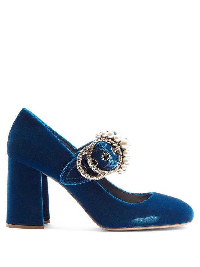 Embellished velvet block-heel pumps