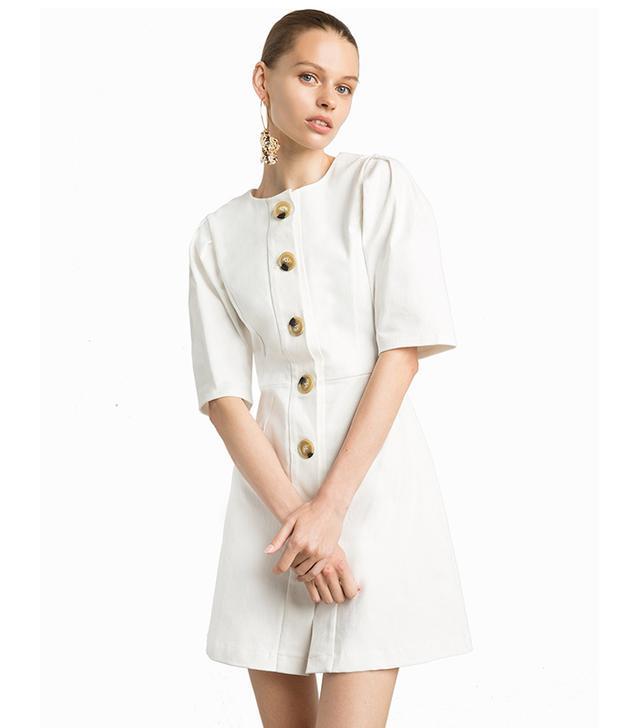 Pixie Market Noah Ecru Big Button Dress