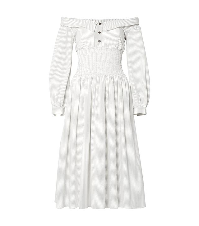Marge Off-the-shoulder Pinstriped Cotton-poplin Midi Dress